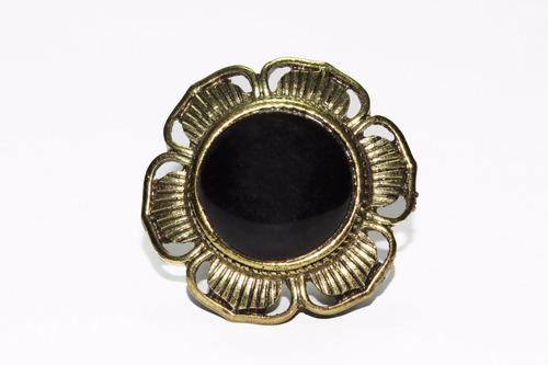 anillo acero dorado flor centro negro ase446