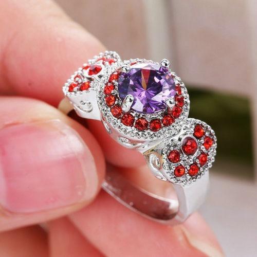 anillo acero enchapado plata piedras purpura/rojo