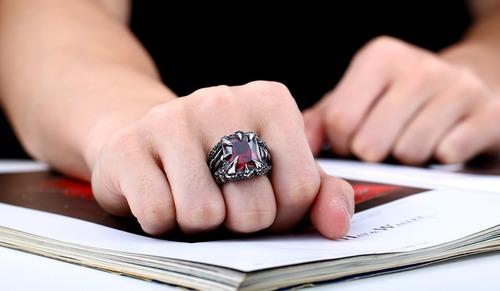 anillo acero inoxidable piedra dragón biker punk para hombre