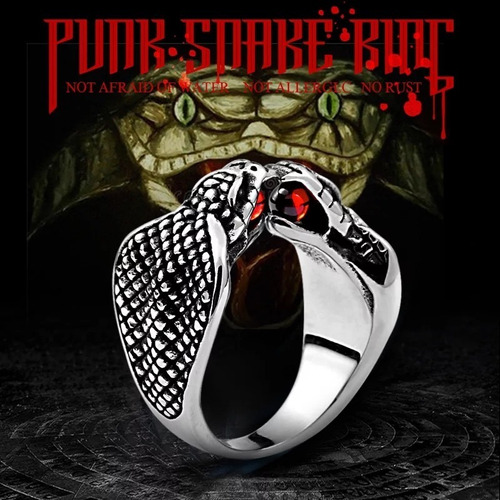 anillo acero inoxidable serpiente cobra biker hombre