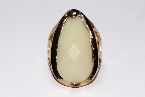 anillo acero mujer dama dorado centro biselado beige ase242