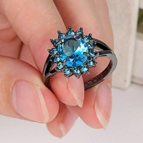 anillo acero negro turquesa enchapado circon piedras