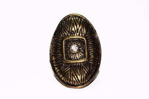 anillo acero ovalado  dorado centro cristal ase467