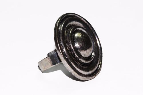anillo acero plateado circular y espiral ase442