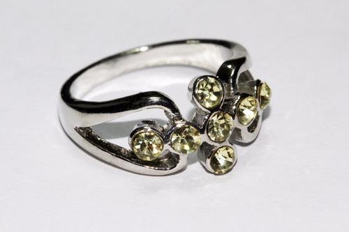 anillo acero plateado dama mujer cristales amarillo ase226