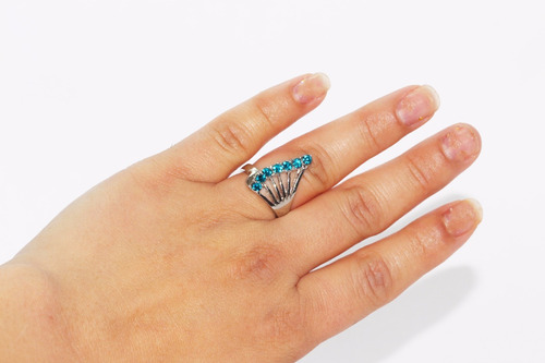 anillo acero plateado dama mujer moda cristales azul ase227