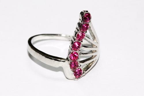 anillo acero plateado dama mujer moda cristales rosa ase228