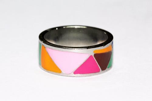 anillo acero plateado figuras tribales ase261