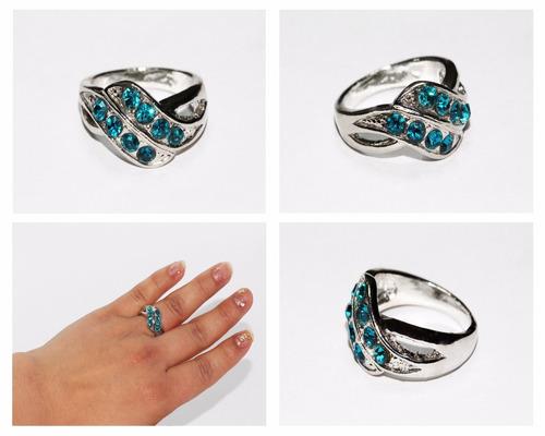 anillo acero plateado mujer dama mujer cristales azul ase233