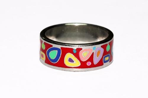 anillo acero plateado mujer vintage figuras tribales ase259