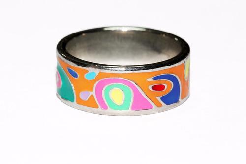 anillo acero vintage plateado mujer figuras tribales ase276