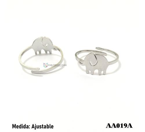 anillo ajustable elefante acero plateado