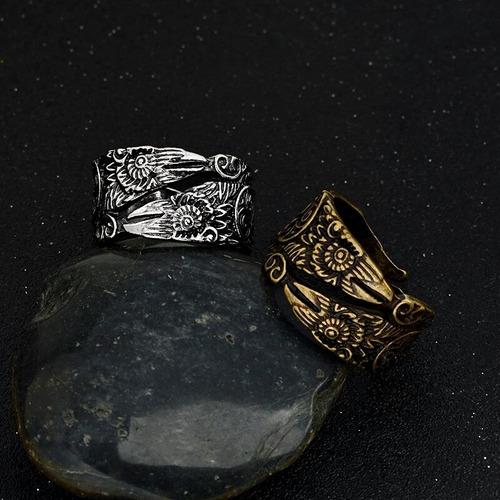 anillo ajustable vikingo cabeza de águila nórdico hombre