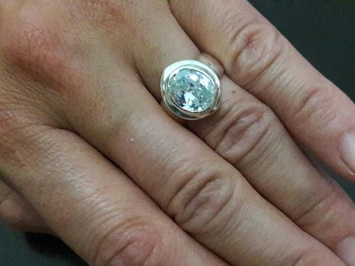 anillo alianza compromiso solitario de plata topacio central