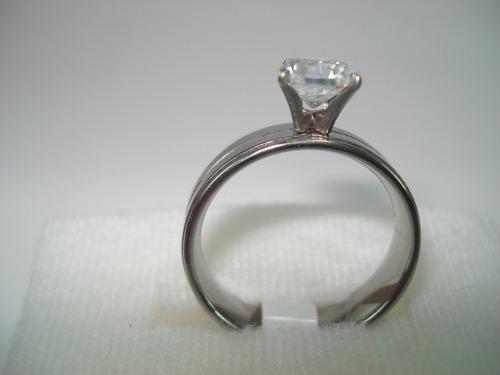 anillo alianza de acero inoxidable plateado y dorado