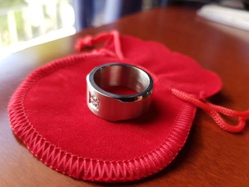 anillo alianza oro blanco 18mm c/ 4 diamantes zirconia