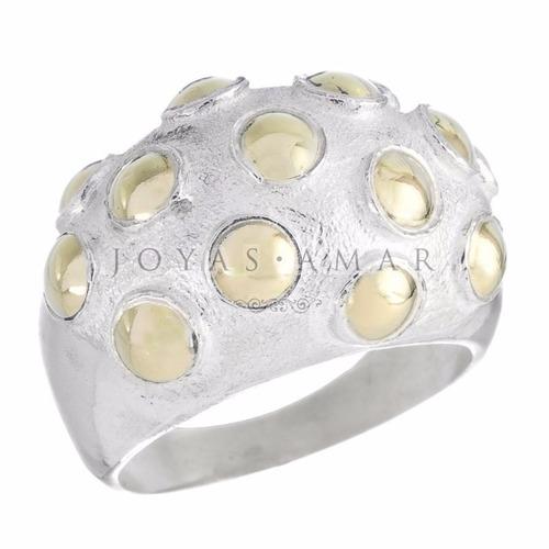 anillo ancho plata y oro bombe varias medidas envio