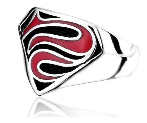 anillo argolla acero inoxidable superman color plata hombre
