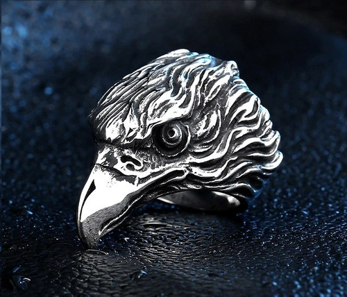 anillo argolla águila biker acero inoxidable punk hombre