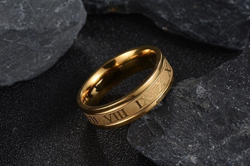 anillo argolla anillo numeros romano acero inoxidable hombre