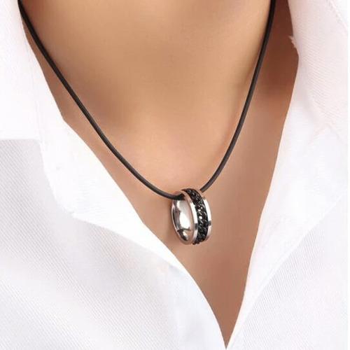 anillo argolla cadena color negro suerte titanio hombre moda