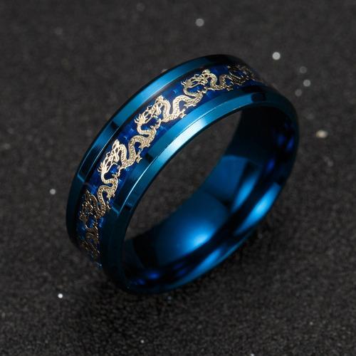 anillo argolla cadena de dragón azul acero inoxidable hombre