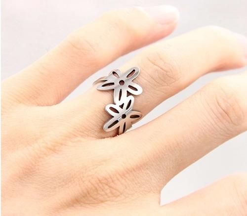 anillo argolla color plata mujer acero inoxidable doble flor
