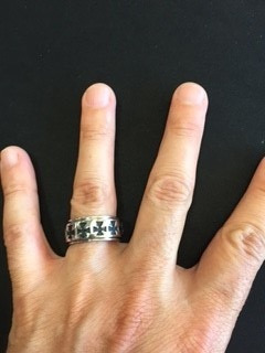 anillo argolla con cruces acero inoxidable