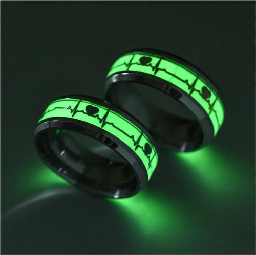 anillo argolla pareja brilla en la oscuridad fluorescente
