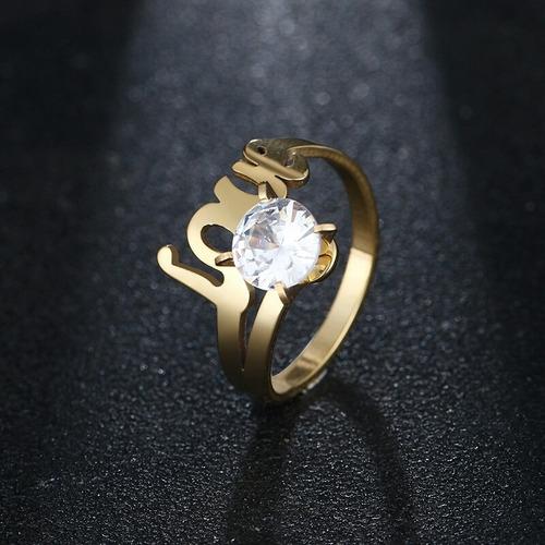 anillo argolla pareja compromiso acero inoxidable para mujer