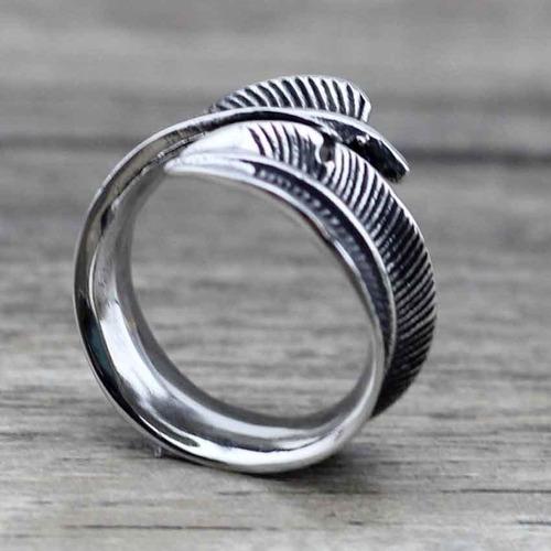 anillo argolla pluma en acero inoxidable para hombre y mujer