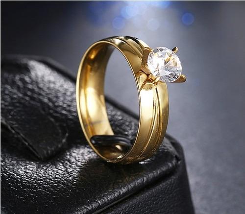 anillo argolla sortija mujer acero inoxidable cz compromiso