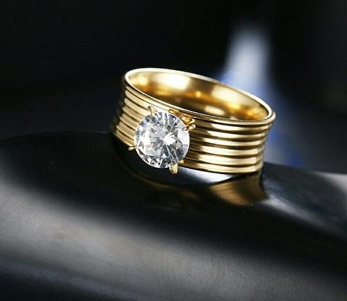 anillo argolla titanio acero inoxidable zircon cubica mujer