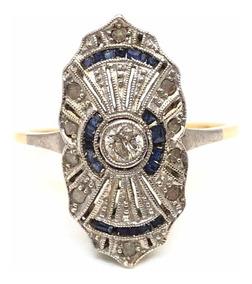 ed0b6ba74df9 Anillo Art Deco De Oro 18kt Con Diamantes Y Zafiros (a373)