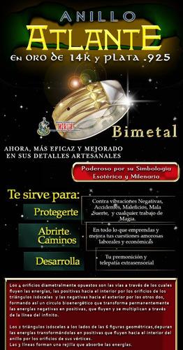 anillo atlante bimetal - oro 14 kilates y plata .925