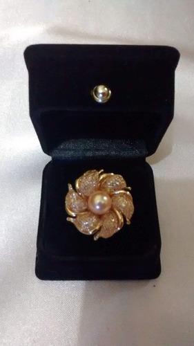 anillo bañado en oro de 18k con imitación de perla