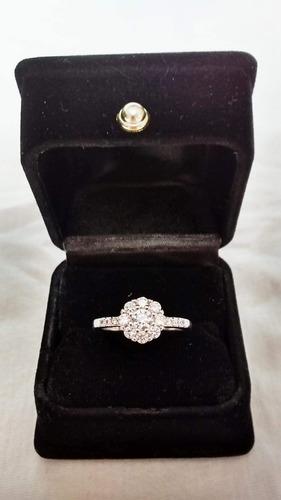 anillo bañado en plata 925 con circón ruso