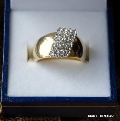 anillo bañado oro 24 circones finos 16