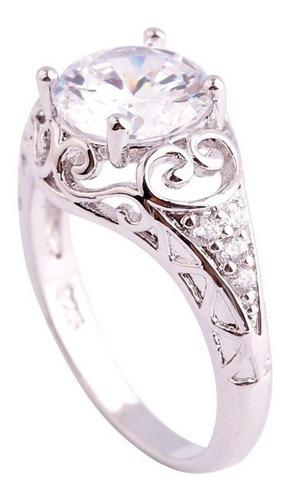 anillo bañado plata 925 con piedra topacio blanco