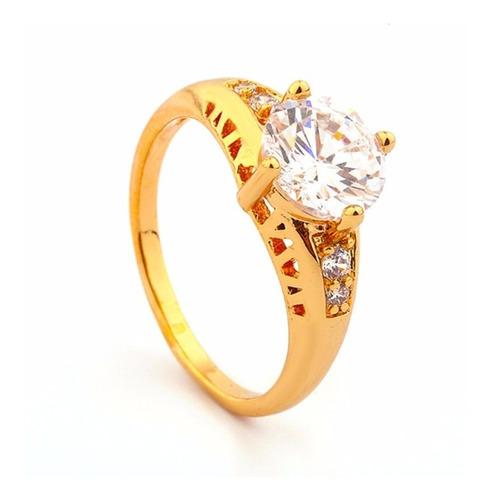 anillo baño de oro 18k compromiso boda o matrimonio