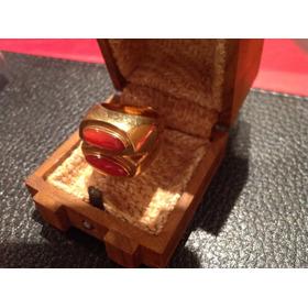 Anillo Belgiorno De Oro Macizo Con Doble Piedra Coral 20g