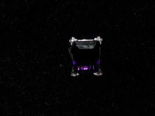 anillo bisuteria chapa de plata con amatista sintetica
