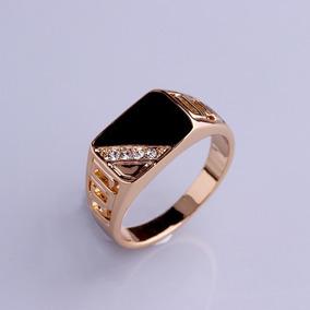 nueva llegada 167a2 a753e Anillo Caballero Baño Oro Triangulo Cristales, Esmalte Negro