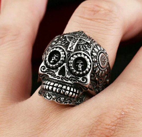 anillo calavera acero inoxidable hombre mujer navidad