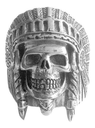 anillo calavera- cacique de plata 925