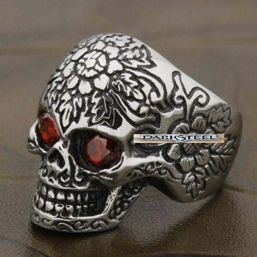 anillo calavera craneo flor, chopper, biker, rock, stamuerte