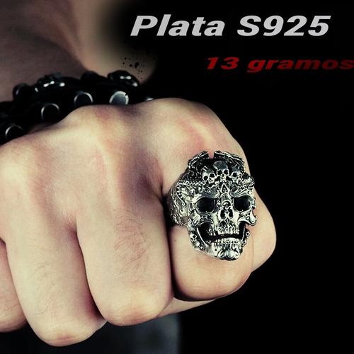 anillo calavera inframundo plata 925 maciza 13g hombre mujer