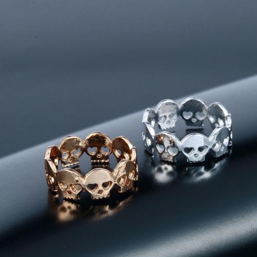 anillo calaveras sin fin plateado regalo a-235