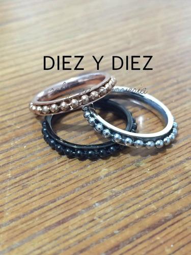 anillo cardinal de acero tricolor rose, dorado y negro