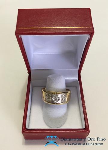 anillo central facetado hemoso oro amarillo y blanco